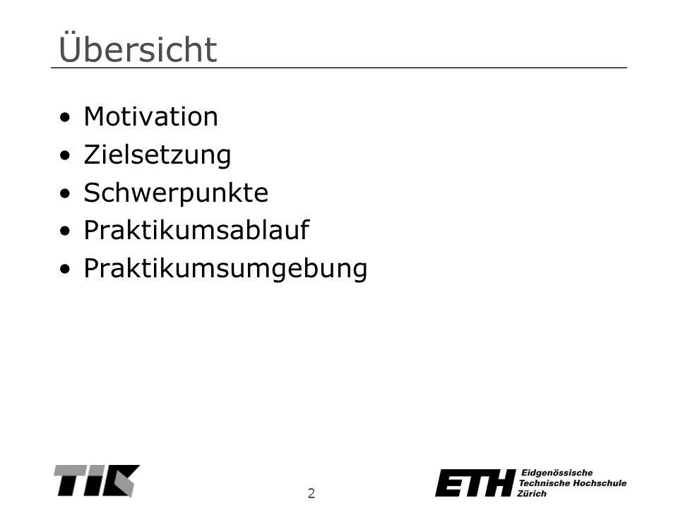 2 Übersicht Motivation Zielsetzung Schwerpunkte Praktikumsablauf Praktikumsumgebung