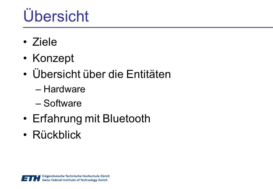 Übersicht Ziele Konzept Übersicht über die Entitäten –Hardware –Software Erfahrung mit Bluetooth Rückblick