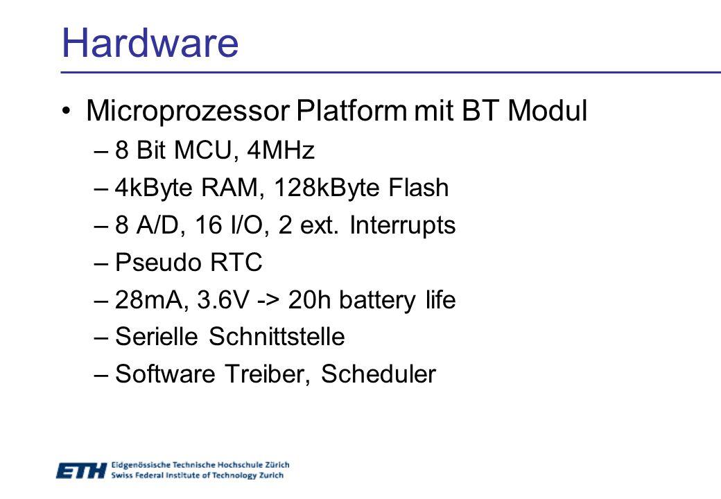 Hardware Microprozessor Platform mit BT Modul –8 Bit MCU, 4MHz –4kByte RAM, 128kByte Flash –8 A/D, 16 I/O, 2 ext. Interrupts –Pseudo RTC –28mA, 3.6V -