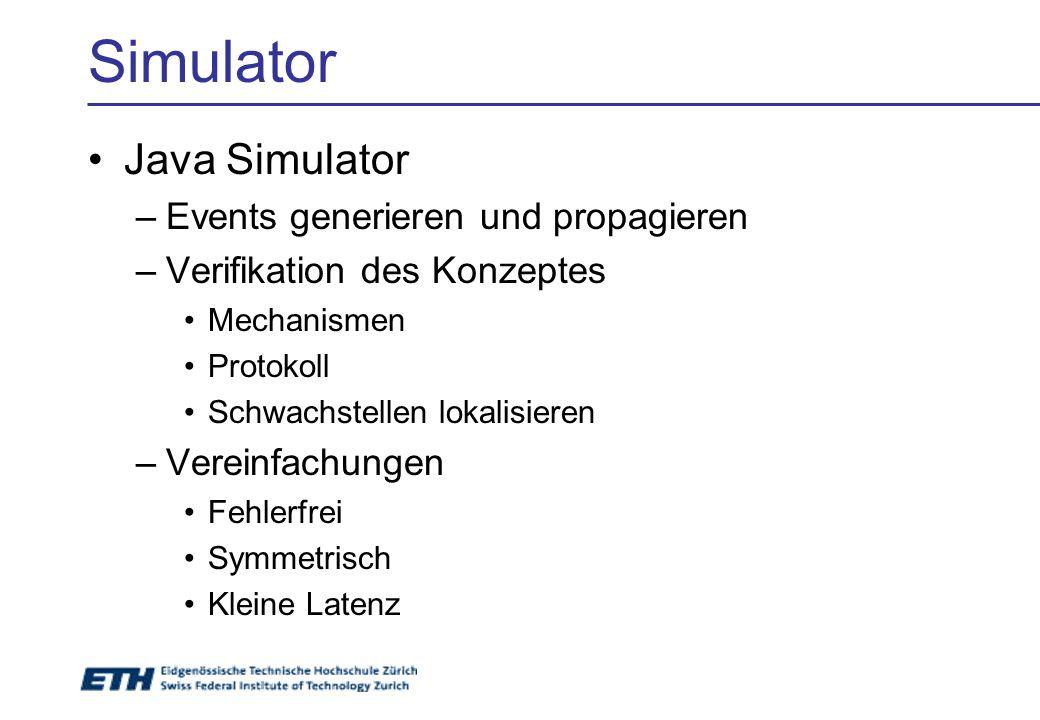 Simulator Java Simulator –Events generieren und propagieren –Verifikation des Konzeptes Mechanismen Protokoll Schwachstellen lokalisieren –Vereinfachungen Fehlerfrei Symmetrisch Kleine Latenz