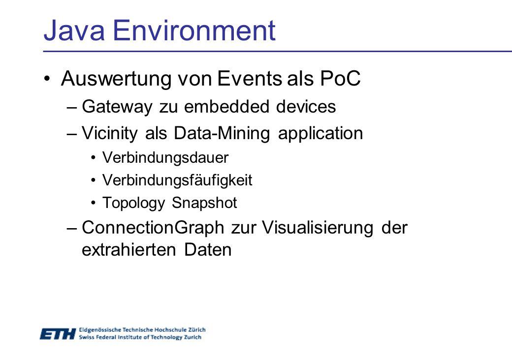 Java Environment Auswertung von Events als PoC –Gateway zu embedded devices –Vicinity als Data-Mining application Verbindungsdauer Verbindungsfäufigke