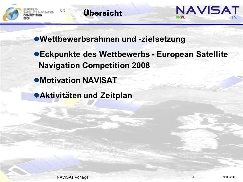 20.03.2006 NAVISAT-Vorlage 4 Übersicht Wettbewerbsrahmen und -zielsetzung Eckpunkte des Wettbewerbs - European Satellite Navigation Competition 2008 Motivation NAVISAT Aktivitäten und Zeitplan