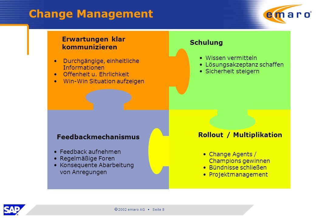 2002 emaro AG Seite 8 Change Management Erwartungen klar kommunizieren Durchgängige, einheitliche Informationen Offenheit u. Ehrlichkeit Win-Win Situa
