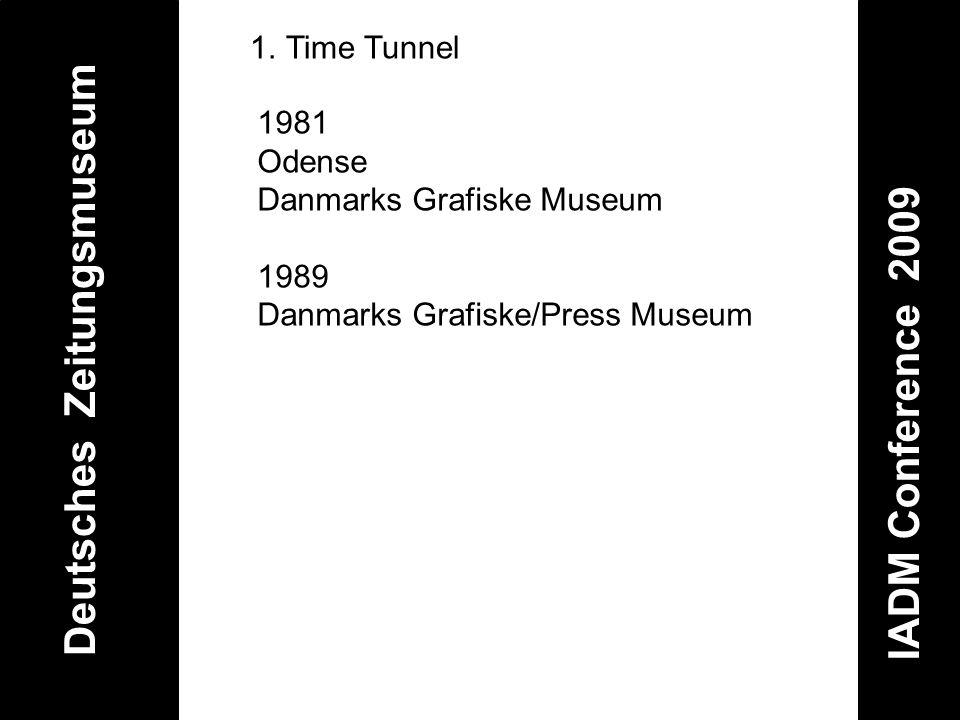 Deutsches Zeitungsmuseum IADM Conference 2009 1.Time Tunnel 1981 Odense Danmarks Grafiske Museum 1989 Danmarks Grafiske/Press Museum