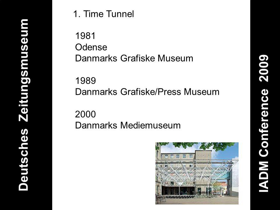 Deutsches Zeitungsmuseum IADM Conference 2009 1.Time Tunnel 1981 Odense Danmarks Grafiske Museum 1989 Danmarks Grafiske/Press Museum 2000 Danmarks Med