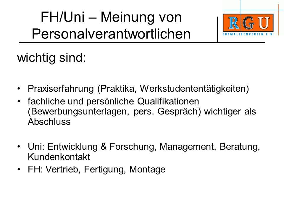 FH/Uni – Meinung von Personalverantwortlichen wichtig sind: Praxiserfahrung (Praktika, Werkstudententätigkeiten) fachliche und persönliche Qualifikati
