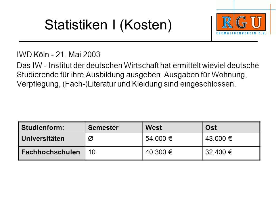 Statistiken I (Kosten) IWD Köln - 21. Mai 2003 Das IW - Institut der deutschen Wirtschaft hat ermittelt wieviel deutsche Studierende für ihre Ausbildu