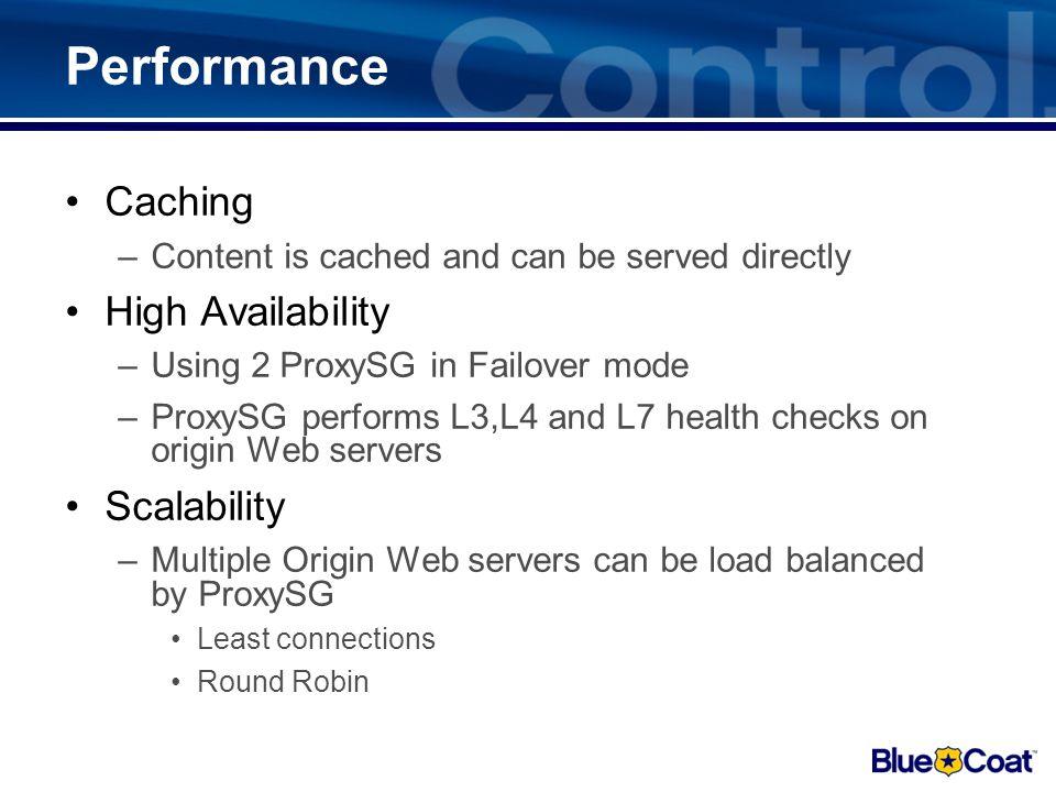 Virus Scanning ProxySG and ProxyAV Internet Internal Network ProxySG Virus Scanning Appliance based HTTPS User Database ProxySG & ProxyAV architecture
