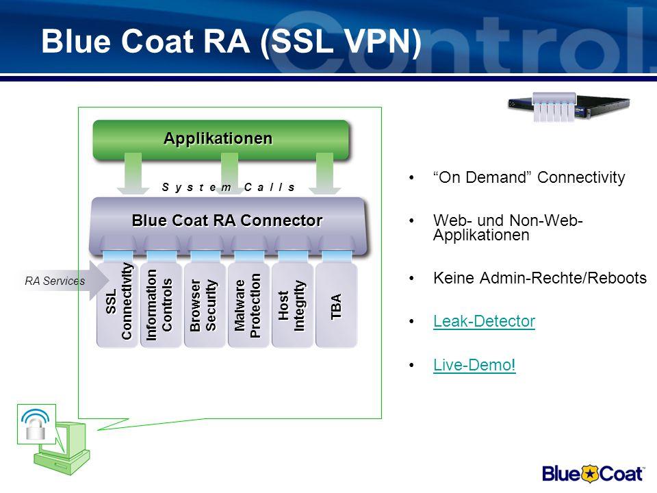 Blue Coat RA – SSL VPN der nächsten Generation –Single Access für Web & Non-Web Applikationen. –Integrierte Endpoint Security & Information Protection