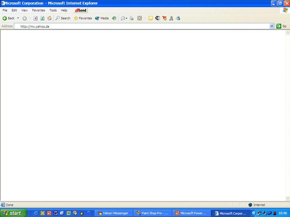 Internet Explorer Browser starten Sucht und zeigt Informationen und Websites im Internet an. 10:45