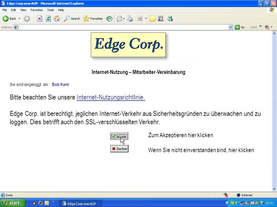Proxy Architektur Forward & Reverse Proxy SSL Proxy IM, Skype & P2P Control HTTP(S), File, Exchange, Streaming, Byte Bandwidth Control, DiffServ Services Technology Partner Blue Coat AV Proxy Custom OS Policy Authentication, Authorization, Logging SGOS Object-based OS with Caching Policy Processing Engine Architectural Foundation for Application Delivery End Point Remote Access & Web Protect