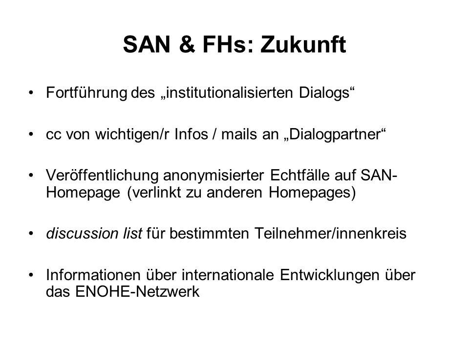SAN & FHs: Zukunft Fortführung des institutionalisierten Dialogs cc von wichtigen/r Infos / mails an Dialogpartner Veröffentlichung anonymisierter Ech