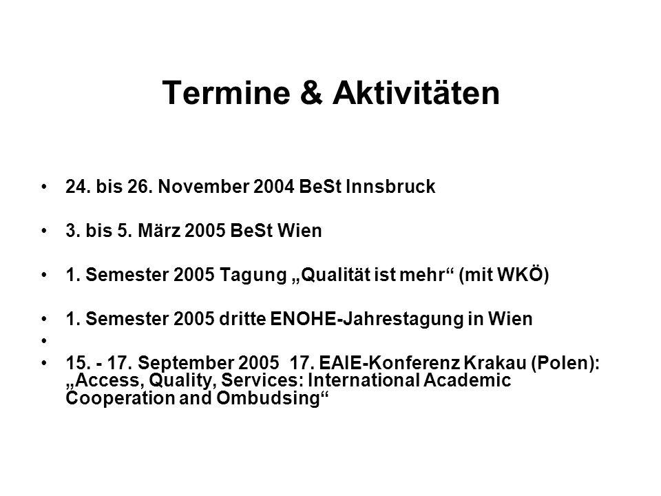 Termine & Aktivitäten 24. bis 26. November 2004 BeSt Innsbruck 3. bis 5. März 2005 BeSt Wien 1. Semester 2005 Tagung Qualität ist mehr (mit WKÖ) 1. Se