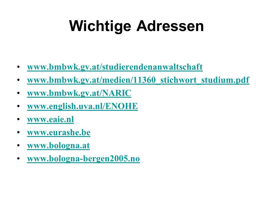 Wichtige Adressen www.bmbwk.gv.at/studierendenanwaltschaft www.bmbwk.gv.at/medien/11360_stichwort_studium.pdf www.bmbwk.gv.at/NARIC www.english.uva.nl