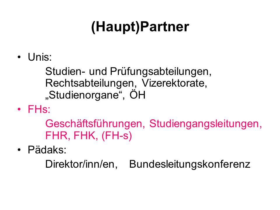 (Haupt)Partner Unis: Studien- und Prüfungsabteilungen, Rechtsabteilungen, Vizerektorate, Studienorgane, ÖH FHs: Geschäftsführungen, Studiengangsleitungen, FHR, FHK, (FH-s) Pädaks: Direktor/inn/en, Bundesleitungskonferenz