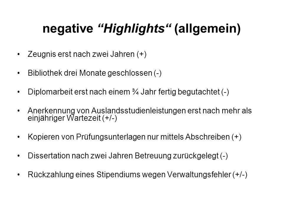 negative Highlights (allgemein) Zeugnis erst nach zwei Jahren (+) Bibliothek drei Monate geschlossen (-) Diplomarbeit erst nach einem ¾ Jahr fertig be