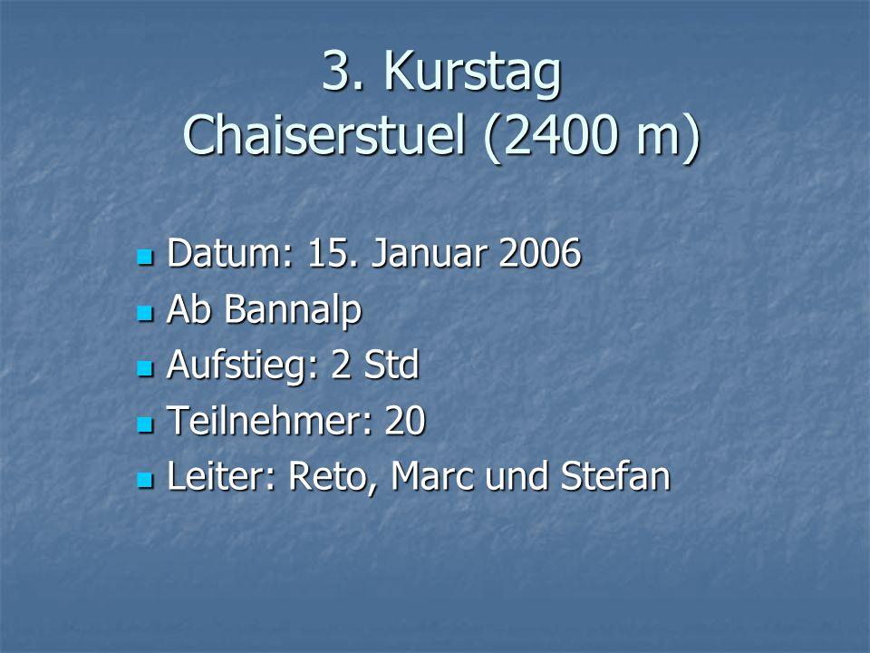 3. Kurstag Chaiserstuel (2400 m) Datum: 15. Januar 2006 Datum: 15. Januar 2006 Ab Bannalp Ab Bannalp Aufstieg: 2 Std Aufstieg: 2 Std Teilnehmer: 20 Te