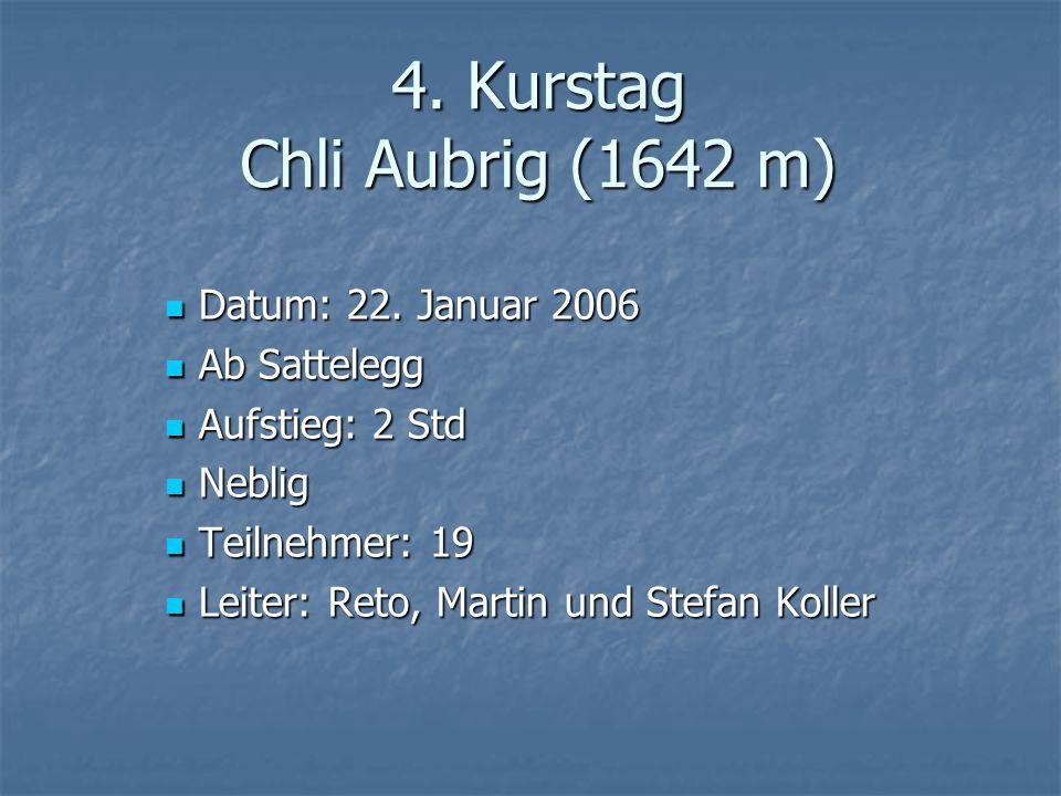 4. Kurstag Chli Aubrig (1642 m) Datum: 22. Januar 2006 Datum: 22.