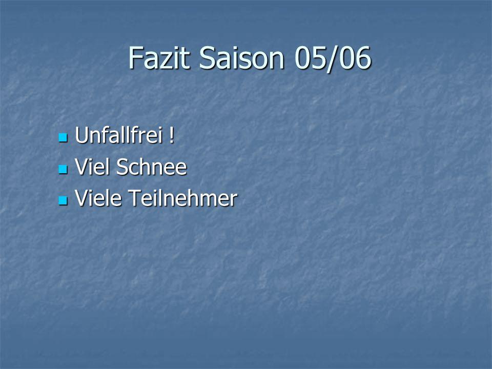 Fazit Saison 05/06 Unfallfrei . Unfallfrei .