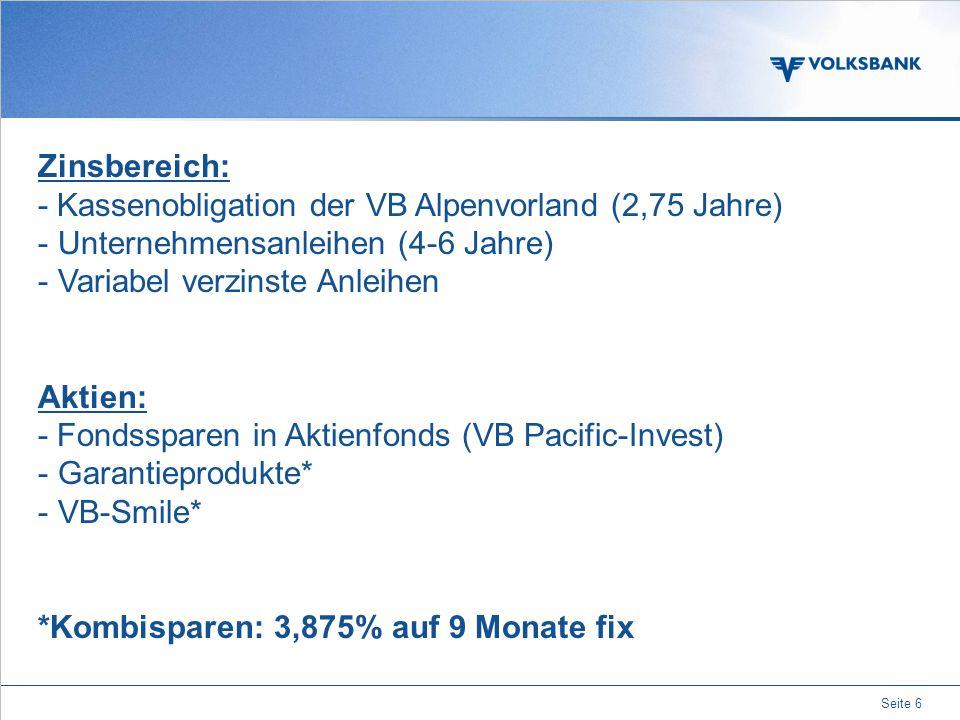 Seite 6 Zinsbereich: - Kassenobligation der VB Alpenvorland (2,75 Jahre) - Unternehmensanleihen (4-6 Jahre) - Variabel verzinste Anleihen Aktien: - Fondssparen in Aktienfonds (VB Pacific-Invest) - Garantieprodukte* - VB-Smile* *Kombisparen: 3,875% auf 9 Monate fix