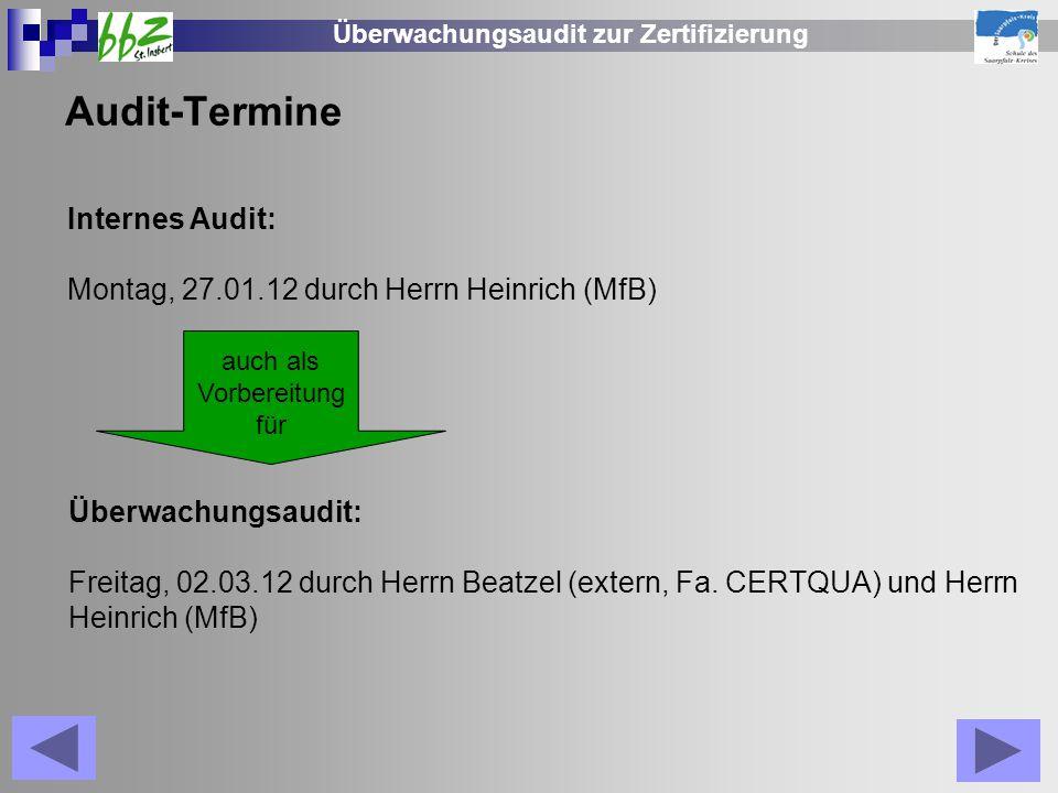 Überwachungsaudit zur Zertifizierung Audit-Termine Internes Audit: Montag, 27.01.12 durch Herrn Heinrich (MfB) auch als Vorbereitung für Überwachungsa