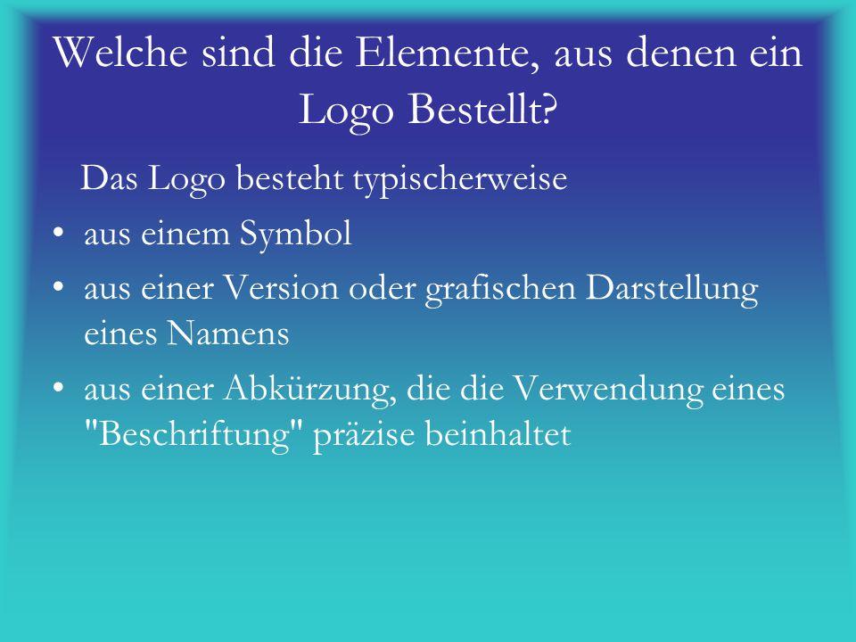 Welche sind die Elemente, aus denen ein Logo Bestellt? Das Logo besteht typischerweise aus einem Symbol aus einer Version oder grafischen Darstellung