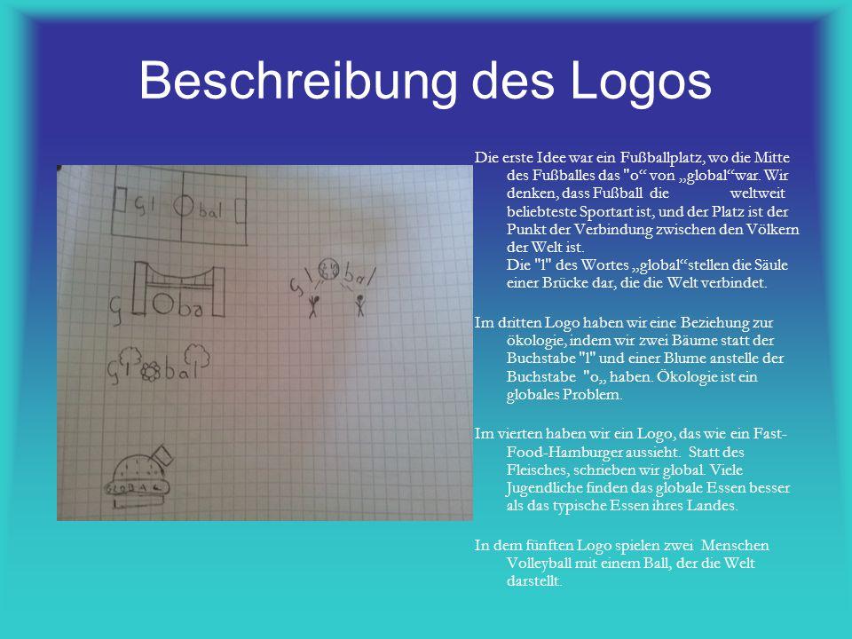 Beschreibung des Logos Die erste Idee war ein Fußballplatz, wo die Mitte des Fußballes das