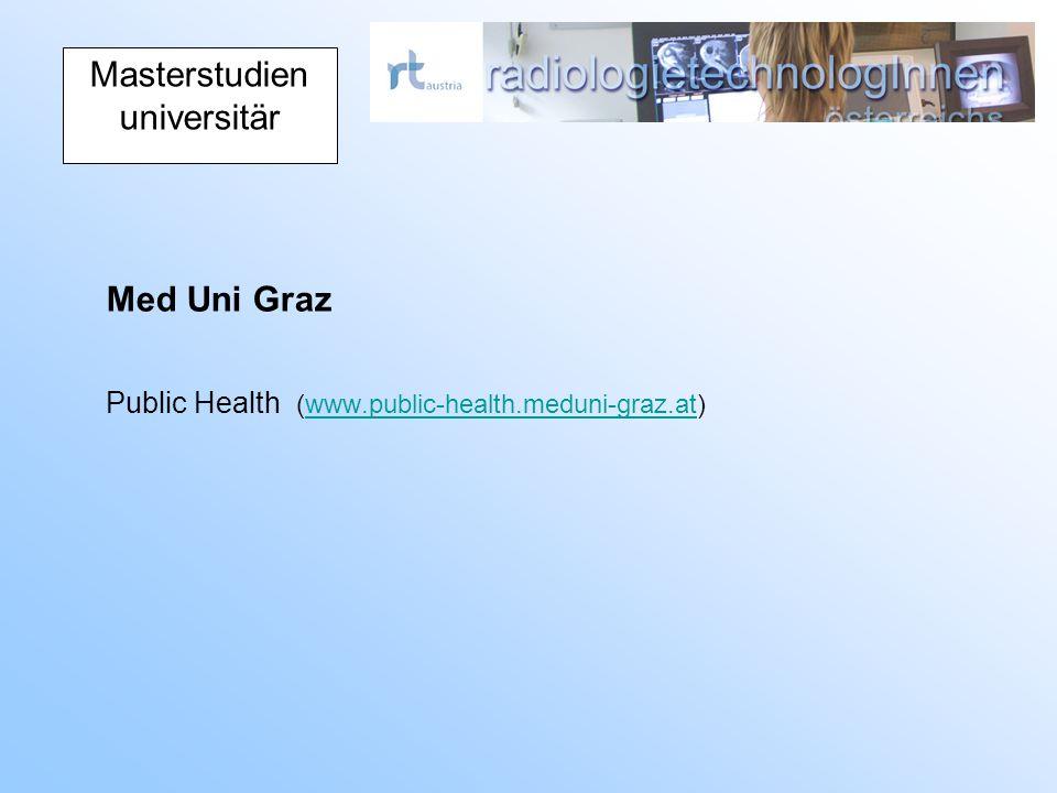 Masterstudien universitär Med Uni Graz Public Health (www.public-health.meduni-graz.at)www.public-health.meduni-graz.at