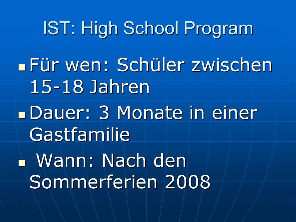 IST: High School Program Für wen: Schüler zwischen 15-18 Jahren Für wen: Schüler zwischen 15-18 Jahren Dauer: 3 Monate in einer Gastfamilie Dauer: 3 M