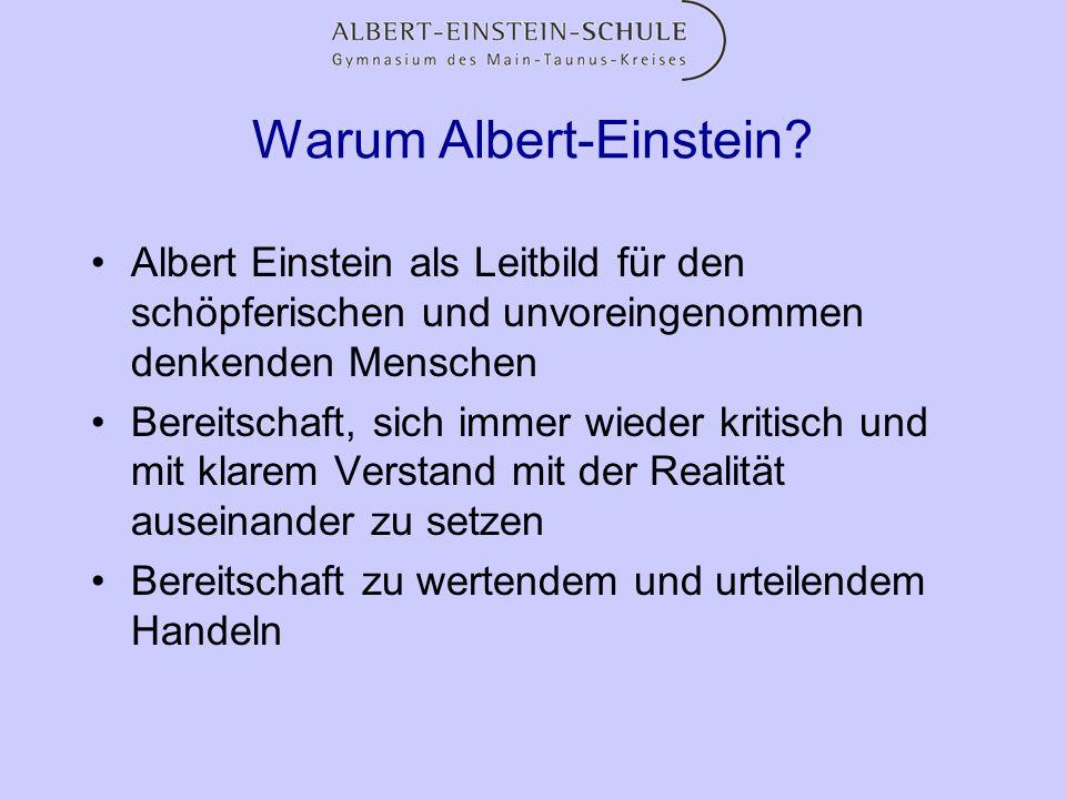 Warum Albert-Einstein? Albert Einstein als Leitbild für den schöpferischen und unvoreingenommen denkenden Menschen Bereitschaft, sich immer wieder kri