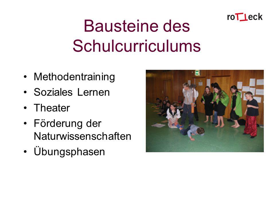 Bausteine des Schulcurriculums Methodentraining Soziales Lernen Theater Förderung der Naturwissenschaften Übungsphasen