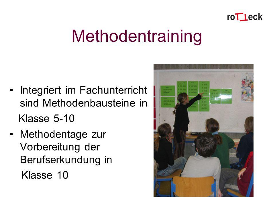 Methodentraining Integriert im Fachunterricht sind Methodenbausteine in Klasse 5-10 Methodentage zur Vorbereitung der Berufserkundung in Klasse 10