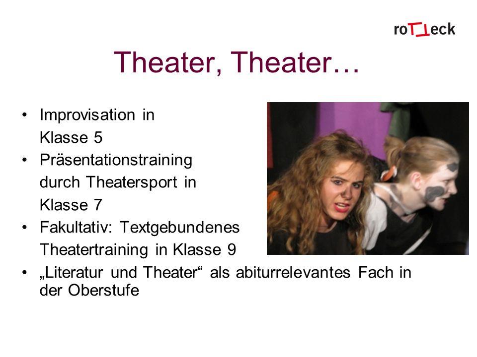 Theater, Theater… Improvisation in Klasse 5 Präsentationstraining durch Theatersport in Klasse 7 Fakultativ: Textgebundenes Theatertraining in Klasse 9 Literatur und Theater als abiturrelevantes Fach in der Oberstufe