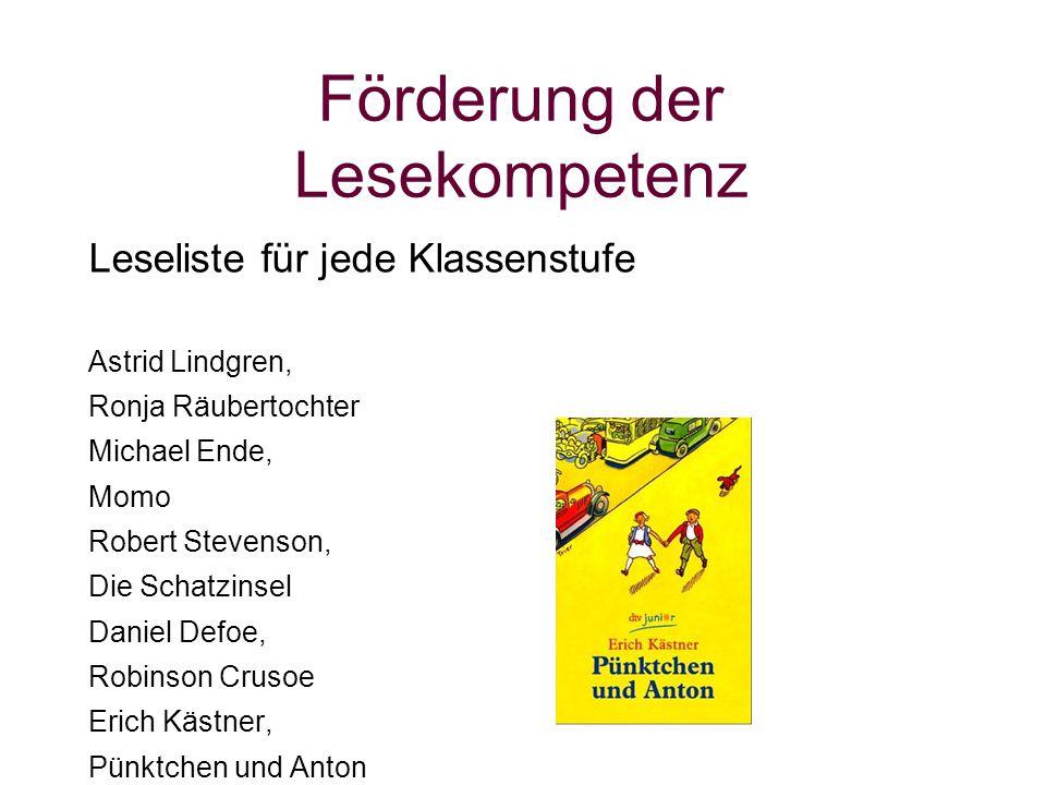 Förderung der Lesekompetenz Leseliste für jede Klassenstufe Astrid Lindgren, Ronja Räubertochter Michael Ende, Momo Robert Stevenson, Die Schatzinsel