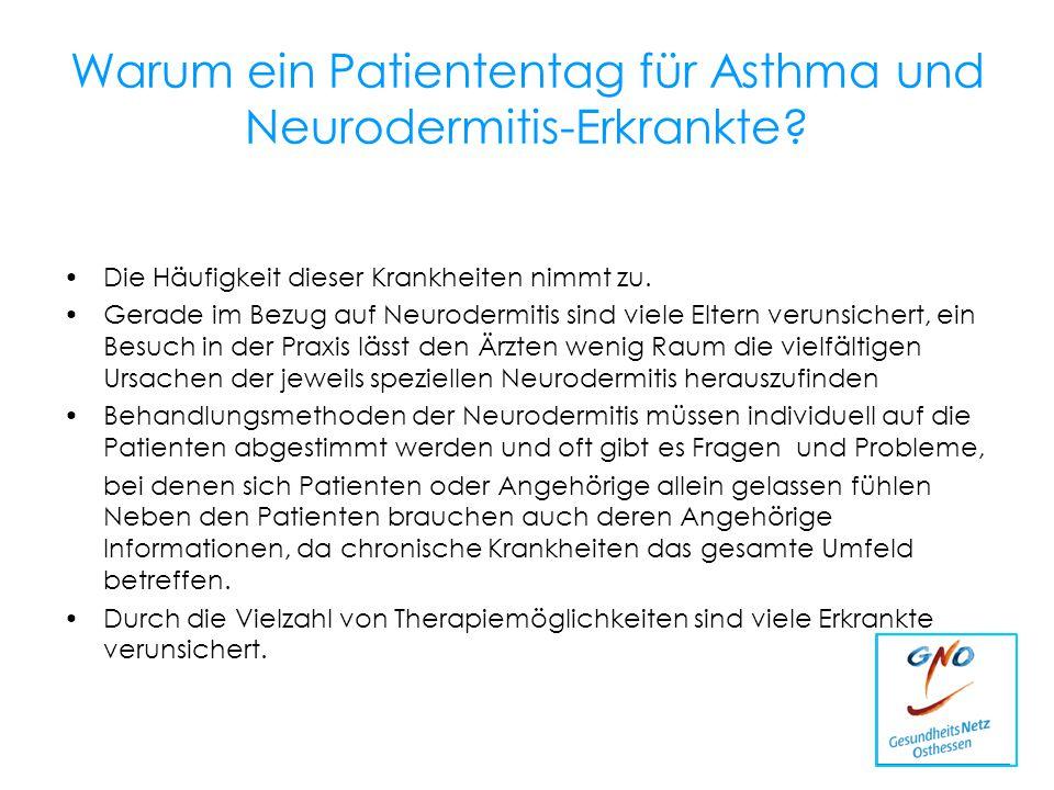 Warum ein Patiententag für Asthma und Neurodermitis-Erkrankte? Die Häufigkeit dieser Krankheiten nimmt zu. Gerade im Bezug auf Neurodermitis sind viel