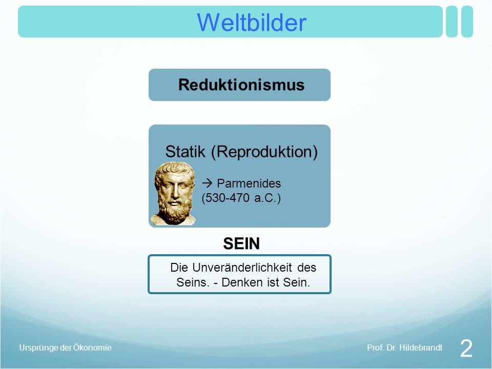 Weltbilder 2 Prof. Dr. HildebrandtUrsprünge der Ökonomie Reduktionismus Die Unveränderlichkeit des Seins. - Denken ist Sein. SEIN Statik (Reproduktion