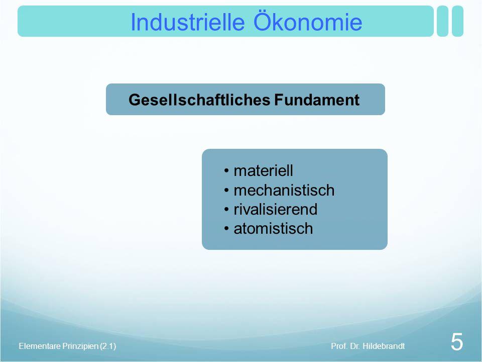 Industrielle Ökonomie Prof. Dr. Hildebrandt 5 Elementare Prinzipien (2.1) materiell mechanistisch rivalisierend atomistisch Gesellschaftliches Fundame
