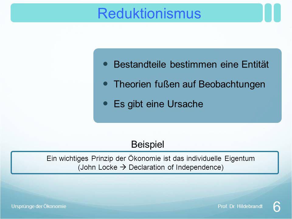 Reduktionismus 6 Prof. Dr. HildebrandtUrsprünge der Ökonomie Ein wichtiges Prinzip der Ökonomie ist das individuelle Eigentum (John Locke Declaration