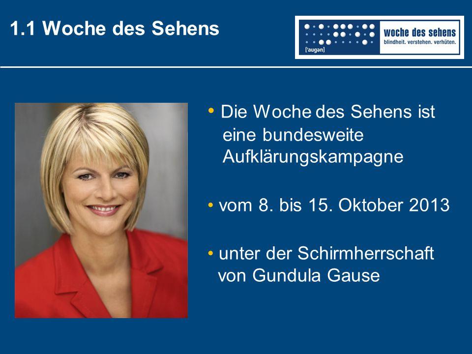 1.1 Woche des Sehens Die Woche des Sehens ist eine bundesweite Aufklärungskampagne vom 8. bis 15. Oktober 2013 unter der Schirmherrschaft von Gundula