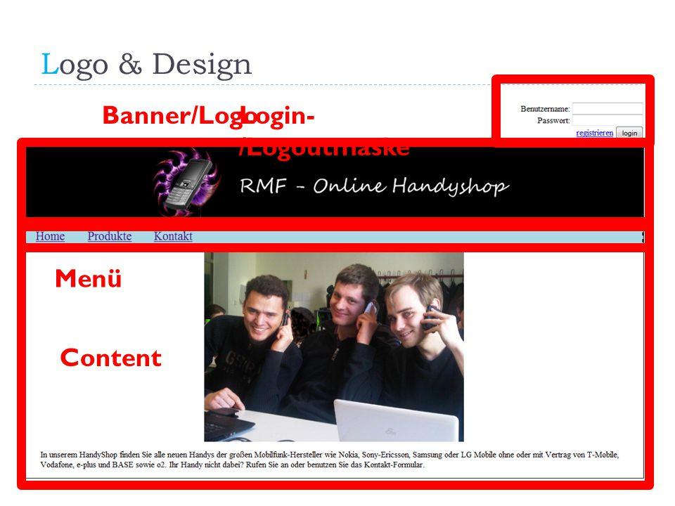 Logo & Design RMF Online Handyshop Banner/LogoLogin- /Logoutmaske Menü Content