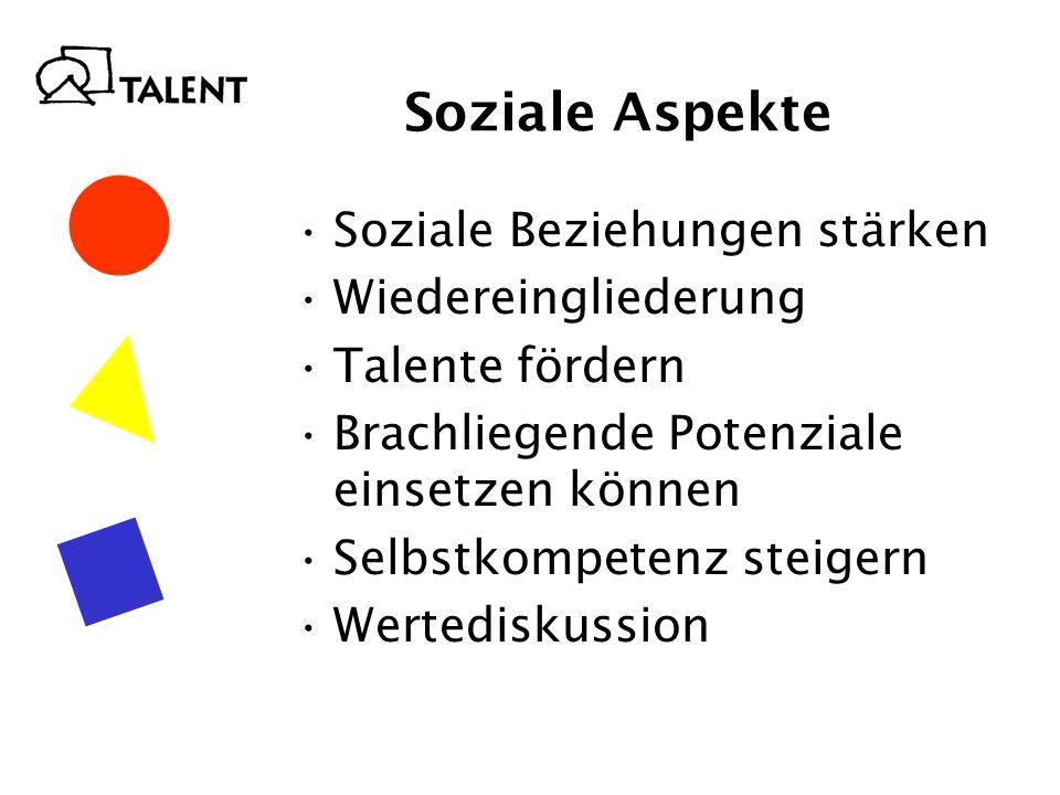 Soziale Aspekte Soziale Beziehungen stärken Wiedereingliederung Talente fördern Brachliegende Potenziale einsetzen können Selbstkompetenz steigern Wertediskussion