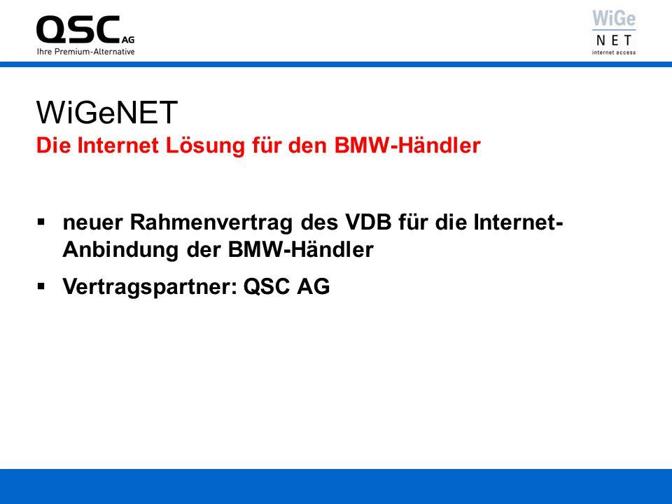WiGeNET Die Internet Lösung für den BMW-Händler neuer Rahmenvertrag des VDB für die Internet- Anbindung der BMW-Händler Vertragspartner: QSC AG