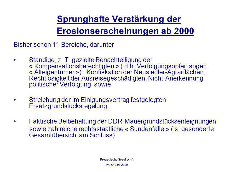 Sprunghafte Verstärkung der Erosionserscheinungen ab 2000 Bisher schon 11 Bereiche, darunter Ständige, z.T. gezielte Benachteiligung der « Kompensatio