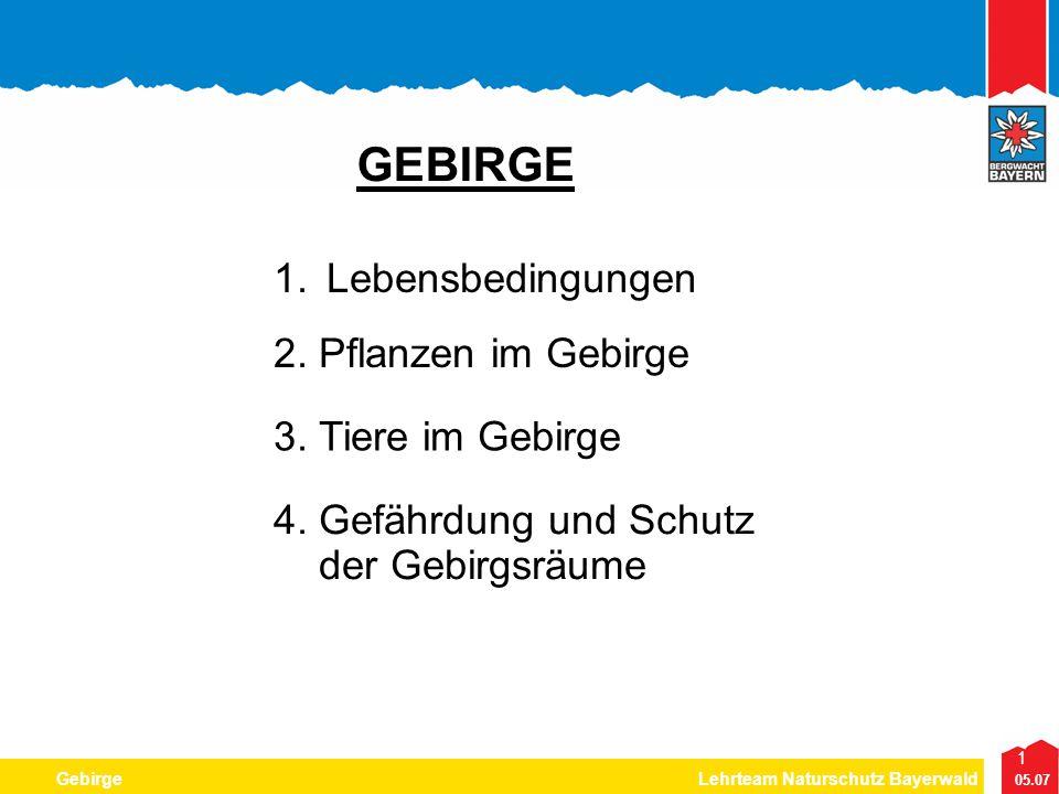 1 05.07 GebirgeLehrteam Naturschutz Bayerwald GEBIRGE 1.Lebensbedingungen 2. Pflanzen im Gebirge 3. Tiere im Gebirge 4. Gefährdung und Schutz der Gebi