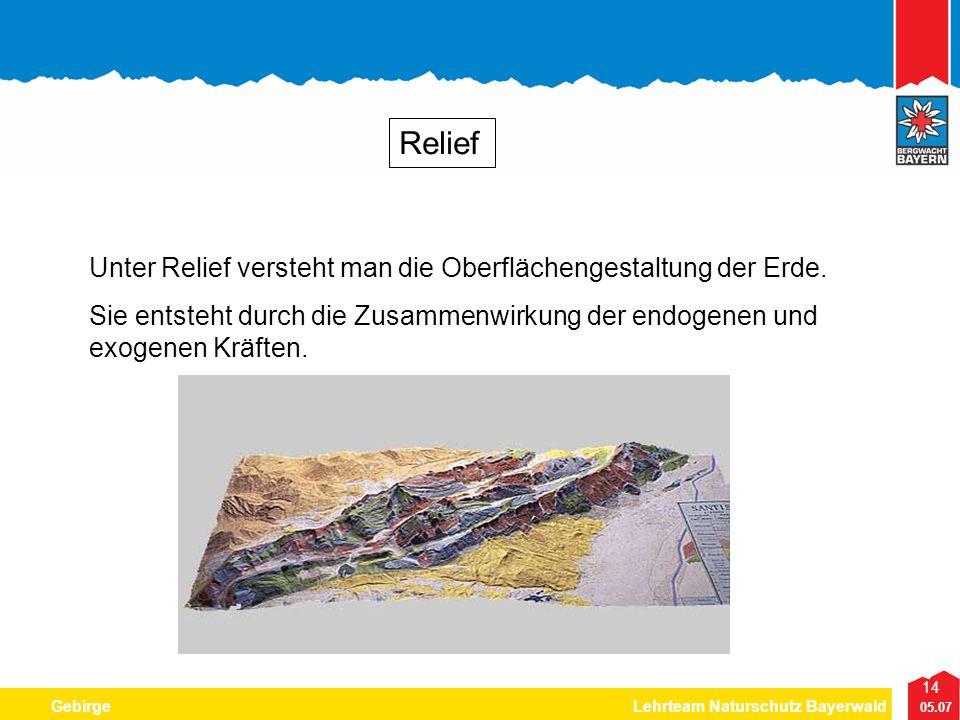 14 05.07 GebirgeLehrteam Naturschutz Bayerwald Relief Unter Relief versteht man die Oberflächengestaltung der Erde. Sie entsteht durch die Zusammenwir