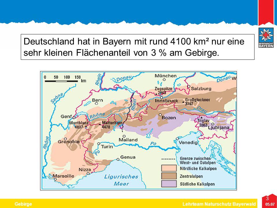 3 05.07 GebirgeLehrteam Naturschutz Bayerwald Deutschland hat in Bayern mit rund 4100 km² nur eine sehr kleinen Flächenanteil von 3 % am Gebirge.