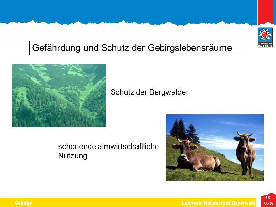 48 05.07 GebirgeLehrteam Naturschutz Bayerwald Gefährdung und Schutz der Gebirgslebensräume Schutz der Bergwälder schonende almwirtschaftliche Nutzung