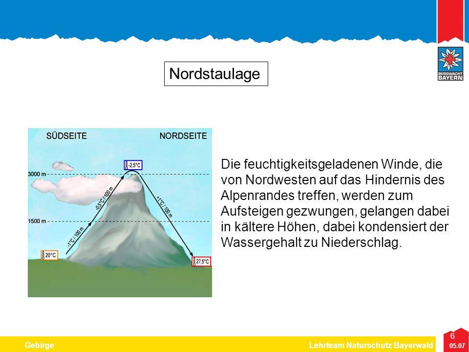 6 05.07 GebirgeLehrteam Naturschutz Bayerwald Nordstaulage Die feuchtigkeitsgeladenen Winde, die von Nordwesten auf das Hindernis des Alpenrandes tref