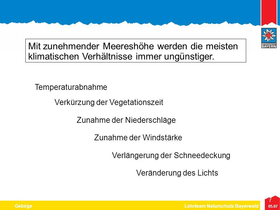 7 05.07 GebirgeLehrteam Naturschutz Bayerwald Mit zunehmender Meereshöhe werden die meisten klimatischen Verhältnisse immer ungünstiger. Temperaturabn