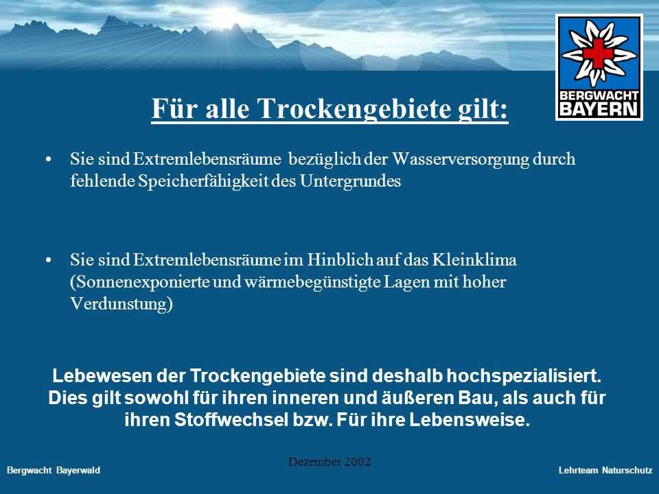 Bergwacht BayerwaldLehrteam Naturschutz Dezember 2002 Entwicklung von Trockenrasen in der Kulturlandschaft